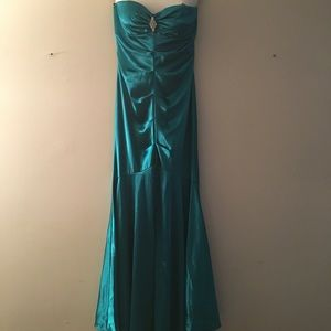 Xscape Teal Strapless Mermaid Gown-prom